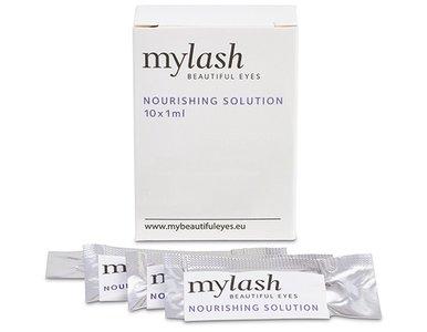 verpakking MYLASH nourishing solution met enkele voorbeelden