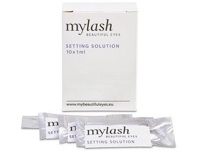 verpakking MYLASH setting solution met enkele voorbeelden