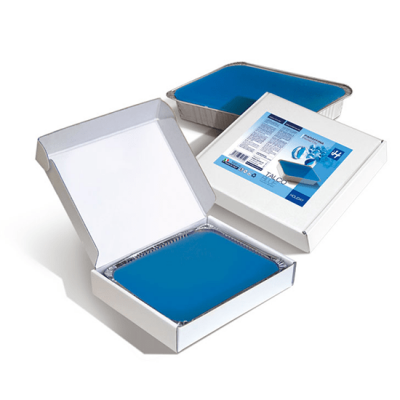 Holiday paraffine blue wax in aluminium bak met verpakking